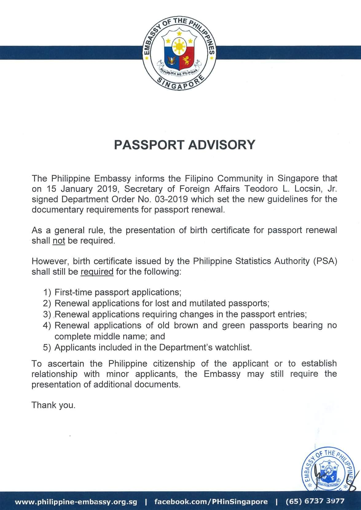 CONSULAR ADVISORY | On the Birth Certificate Requirement : Embassy