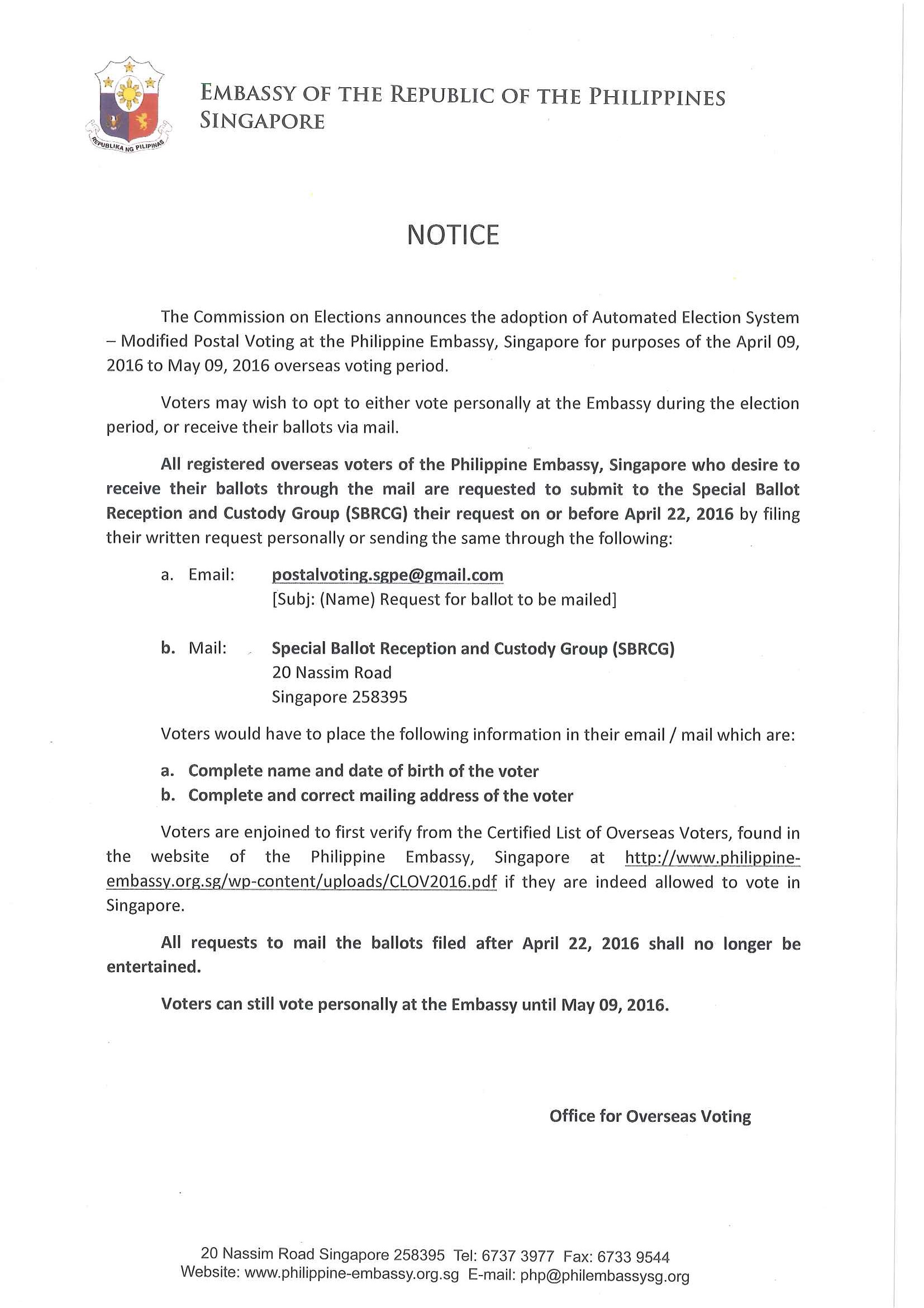 Elections 2016 important notice embassy of the philippines in notice oav 2016 stopboris Gallery