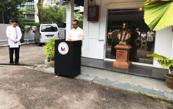 Philippine embassy in singapore celebrates rizal day embassy of consul gonaranao b musor left with consul j anthony a reyes right who delivered a poem in spanish by dr jose rizal philippine embassy officers stopboris Gallery