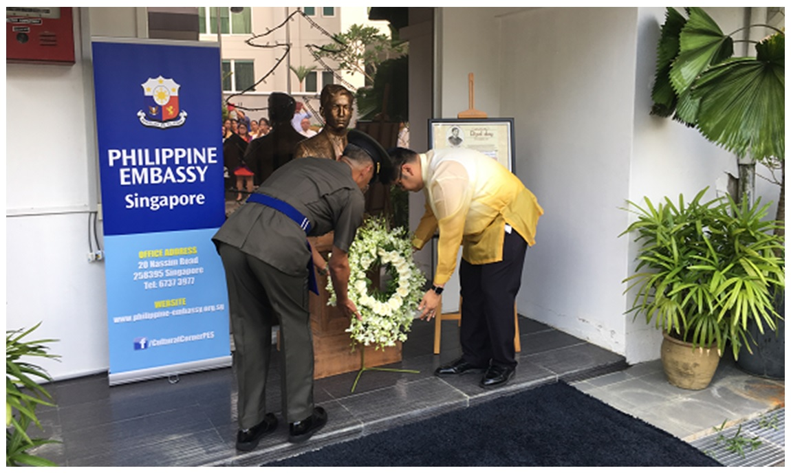 Philippine embassy leads observance of 120th rizal day in minister and consul general victorio mario m dimagiba jr charg daffaires ai and phl defense and armed forces attach col aderito navata lay a wreath stopboris Gallery